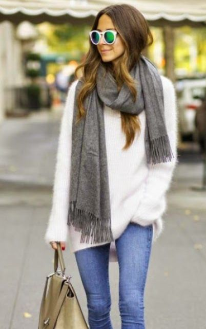 Picture Of Comfy Fall Outfit Ideas With A Fuzzy Sweater 5