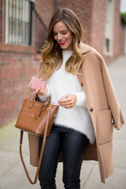 Picture Of Comfy Fall Outfit Ideas With A Fuzzy Sweater 9
