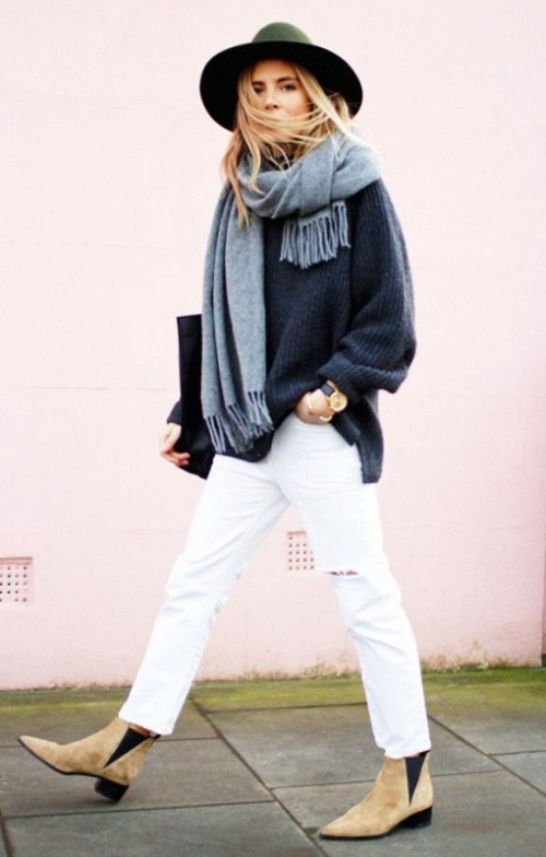 18 Pretty Ways To Transition Your White Jeans For Fall