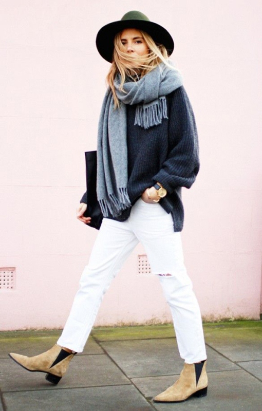 Picture Of pretty ways to transition your white jeans for fall  1