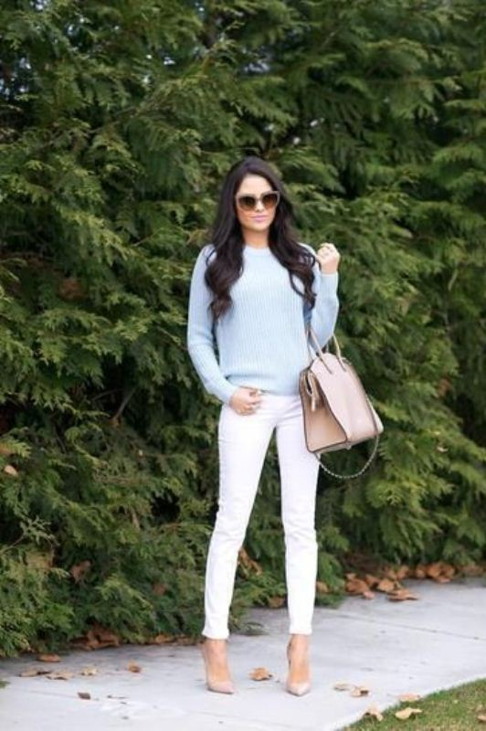 Picture Of pretty ways to transition your white jeans for fall  10