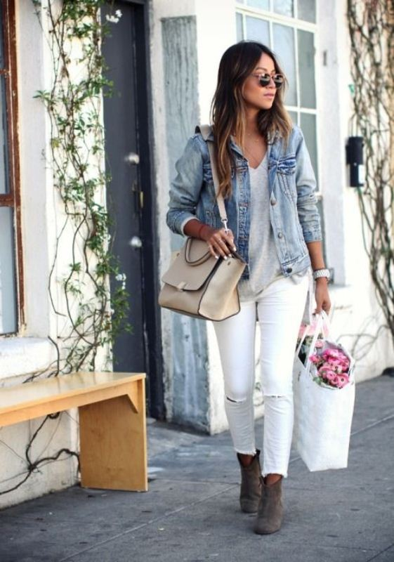 Picture Of pretty ways to transition your white jeans for fall  12
