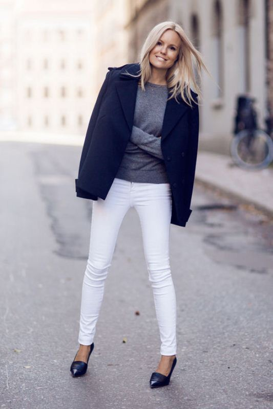 Picture Of pretty ways to transition your white jeans for fall  15
