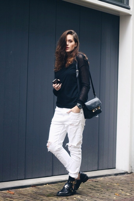 Picture Of pretty ways to transition your white jeans for fall  2