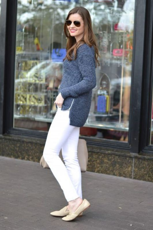 Picture Of pretty ways to transition your white jeans for fall  3