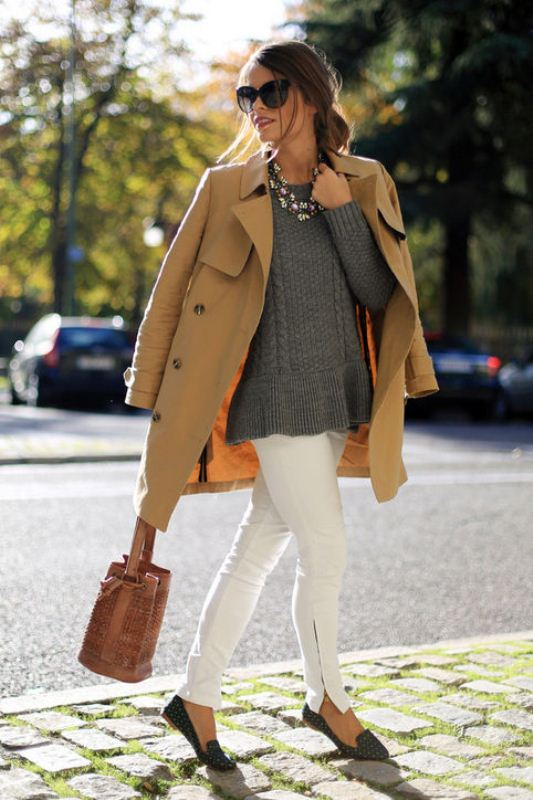 Picture Of pretty ways to transition your white jeans for fall  6