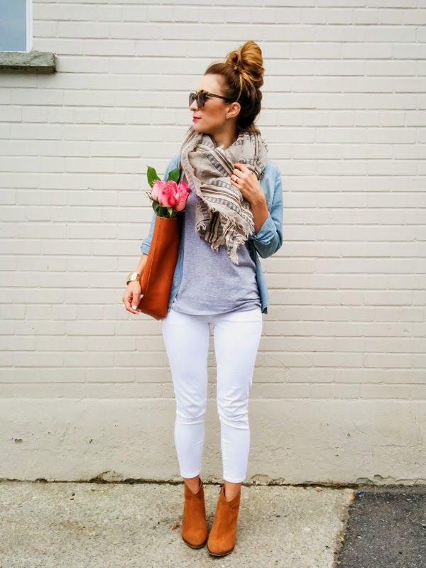 Picture Of pretty ways to transition your white jeans for fall  9