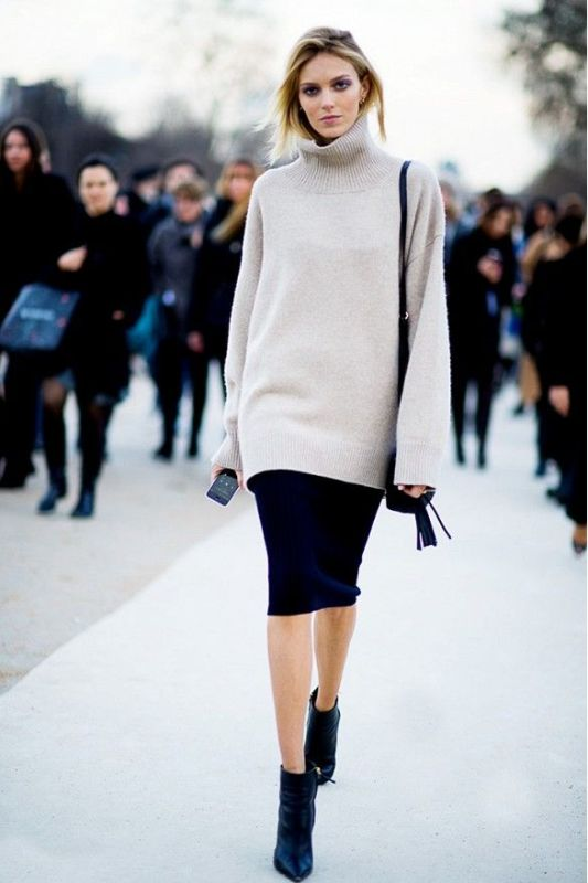 Picture Of beautiful sweater and skirt combinations for fall  2
