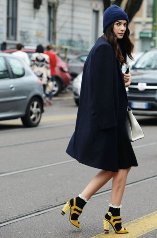 Picture Of stylish ways to wear socks this fall  10