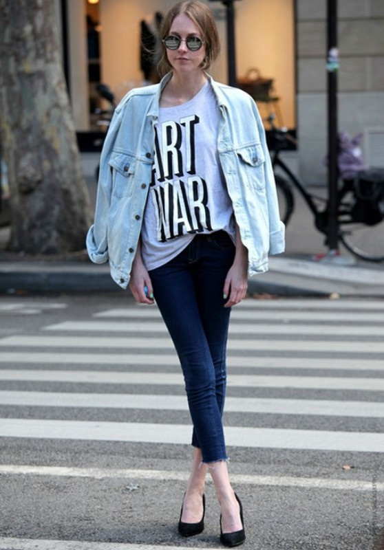 Picture Of cool and trendy ways of wearing a jean jacket  13