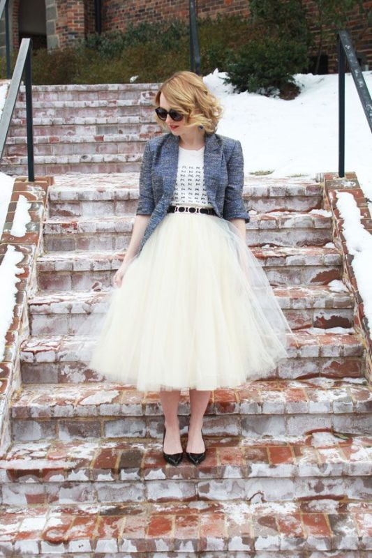 Picture Of fab ways to wear a feminine tulle skirt  7