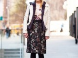 a dark and light floral dress, black shoes and tights and a black and white blazer for spring