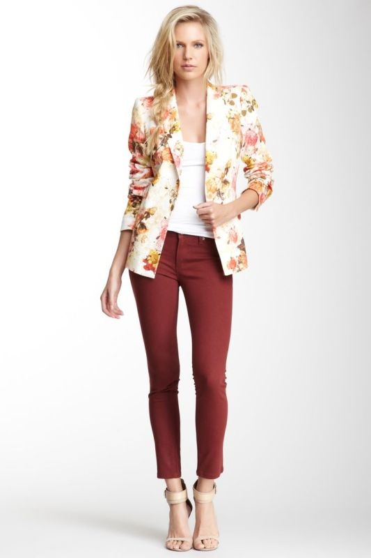 a white top, burgundy pants, a floral blazer, nude shoes for a simple spring or summer look