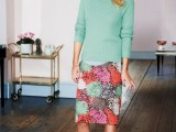 a bright green sweater, a bright floral pencil skirt and nude shoes for a spring work outfit