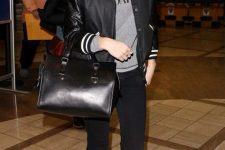 a grey sweatshirt, black skinnies, black booties, a black bomber jacket and a tote for every day