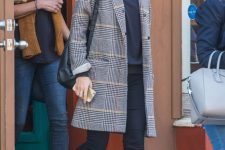 a navy top, black skinnies, black flats and a plaid coat for a simple and comfy casual fall look