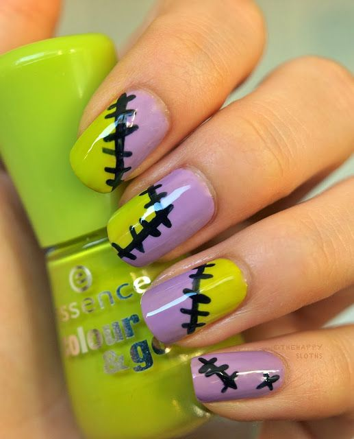 neon green and purple nails with stitches look bold, fun and very modern