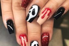 nude, red glitter, black and white nails with scary faces are a bold and cool solution for Halloween