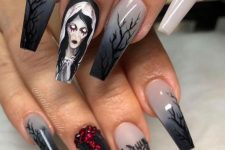 scary long nails in black, white and grey, with a scary bride, rhinestones and quotes are a real Halloween art