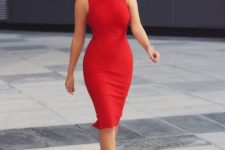 a flame red bodycon knee dress with a halter neckline and nude pumps will make you look wow
