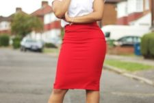 a red pencil midi skirt, a white graphic tee, black ankle strap shoes for a sexy work look