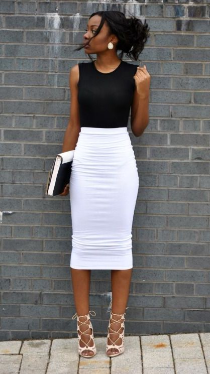 show off your legs without showing off too much skin   wear a white midi pencil skirt, a black sleeveless top, nude strappy shoes and white statement earrings