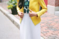 a bold work look with a green floral top, a white pleated knee skirt and a sunny yellow blazer