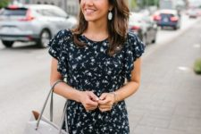an office outfit fit with a cute floral dress