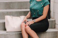 a dark green short sleeve floral top, a black pencil skirt, black heels and a creamy bag for a summer work look