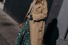 a brown midi trench in the 90s style is a very actual clothes item to wear this year on the whole