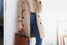 a classic neutral knee trench with black buttons is a stylish idea that will never go out of style