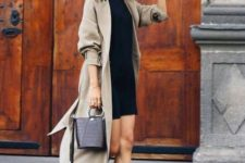 a grey midi trench with a classic collar is a stylish idea with a slight 90s feel