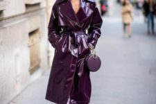 a lacquer purple leather midi trench makes a bold statement and you look fantastic anywhere