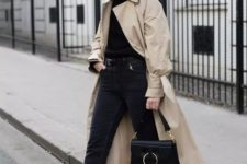 a tan oversized midi trench refreshes the look and makes it feel more spring-like