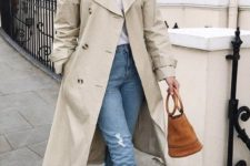 an off-white midi trench with matching buttons is a chic idea to wear in spring