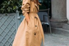 an oversized tan double-breasted midi trench is a classic idea that won't go out of style and will look awesome