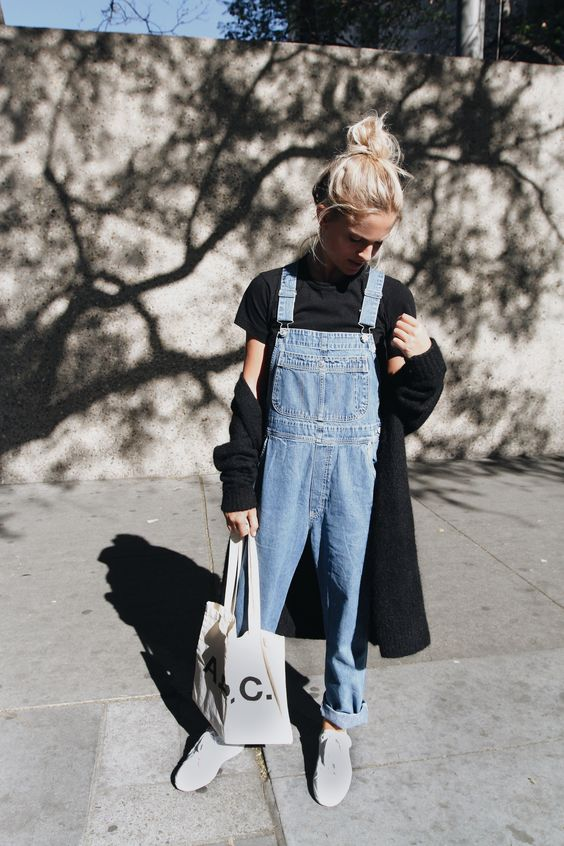 a black short sleeve shirt, a blue denim dungaree, a black cardigan and white sneakers to wear in spring