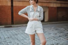 a grey shirt, a white dungaree with shorts, black sandals for a vintage summer look