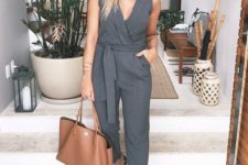a grey sleeveless jumpsuit, leopard print slipons and a brown leather tote for summer