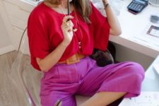 a red wide sleeve blouse, hot pink pants, leopard print mules for a bold and very creative look