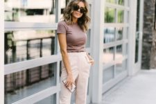 a taupe t-shirt, neutral pants, nude shoes for a simple and minimal summer work look