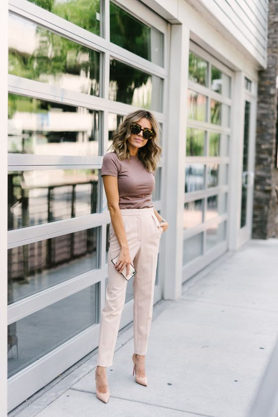 a taupe t shirt, neutral pants, nude shoes for a simple and minimal summer work look