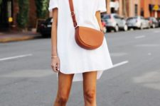 a white mini shirtdress, a brown saddle bag and nude ankle strap shoes for summer