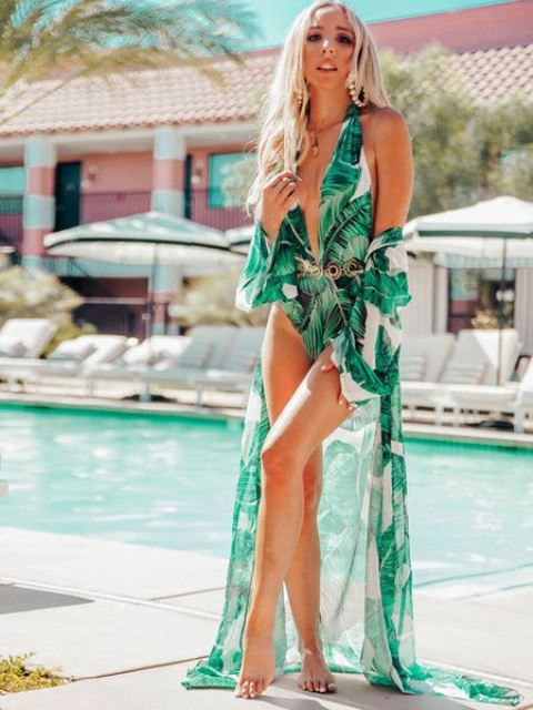 a bright tropical print swimsuit and a matching airy coverup for a super bold look at the beach