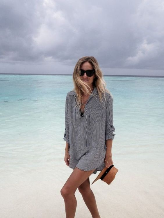 a striped grey shirtdress tunic with lacing is very comfy to wear on the beach