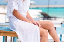 an airy white maxi linen shirtdress with short sleeves is a gorgeous idea to rock on the beach