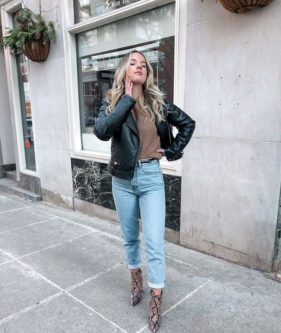 a brown top, a black leather jacket, bleached denim, snakeskin boots for this spring