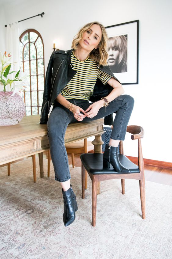 a striped tee, graphite grey skinnies, black booties and a black leather jacket for a touch of casual