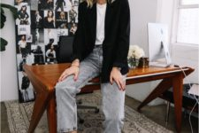 a work outfit with a white tee, grey cropped jeans, black kitten heel booties and an oversized black blazer