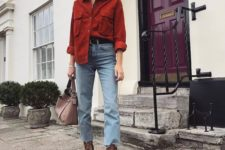 bleached jeans, animal print booties, a red oversized shirt and a dusty pink bag for a touch of color